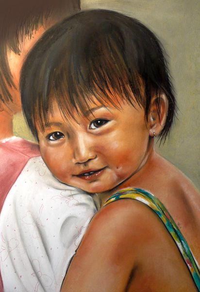 Markt, Kind, Vietnam, Mädchen, Saigon, Neugier