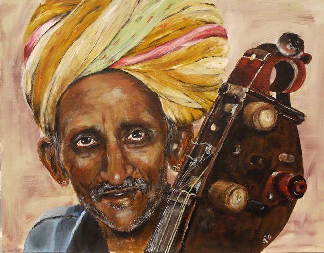 Indien, Musik, Rajastan, Mann, Sitar, Malerei