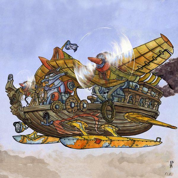 Luftschiff, Reise, Motor, Comic, Himmel, Fliegen