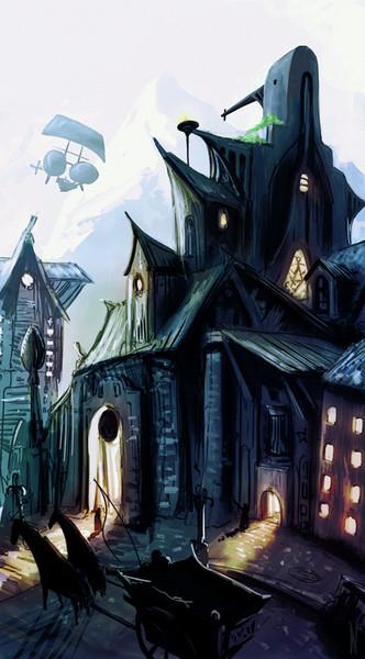 Luftschiff, Haus, Berge, Straße, Straßenszene, Nacht