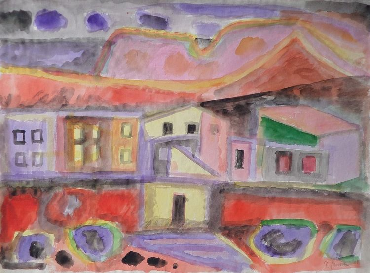 Dorf, Malerei, Lila, Berge, Mediterrane landschaft, Aquarell