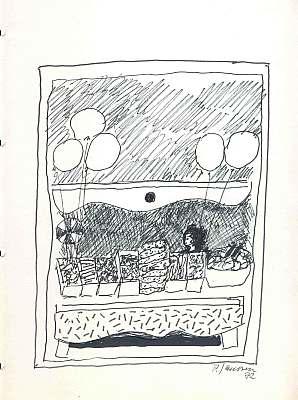 Malerei, Obststand, Zeichnung, 1972, Skizze, Zeichnungen