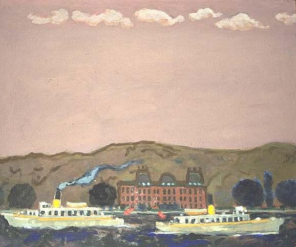 Impressionismus, Gemälde, Ufer, Seeufer, Schiff, Malerei