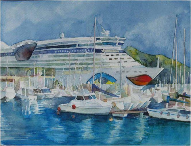 Hafen, Catagena, Aquarellmalerei, Aquarell,