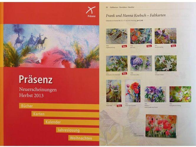 Präsenzverlag, Aquarellmalerei, Kunstkarten, Hanka koebsch, Pinnwand,