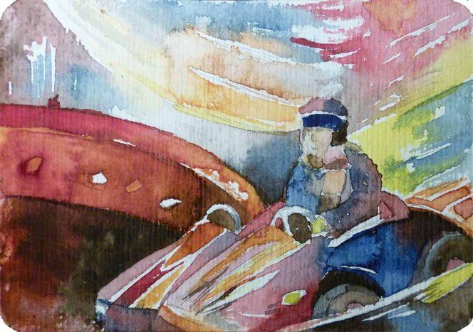 Schneller immer schneller, Aquarellmalerei, Karussell, Miniatur, Kinder, Schnell