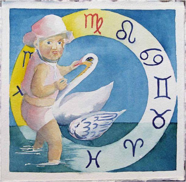 Tierkreiszeichen, Ostsee, Schwan, Aquarellmalerei, Jungfrau, Sternzeichen