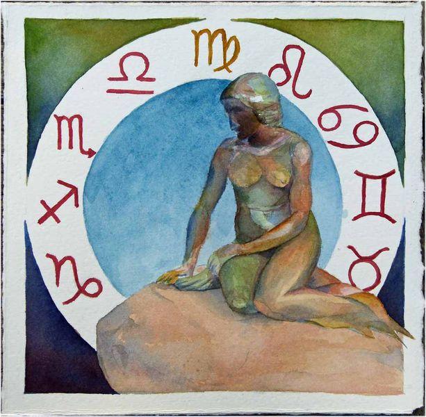 Sternzeichen, Aquarellmalerei, Sternzeichen als aquarell, Meerjungfrau, Jungfrau, Malerei