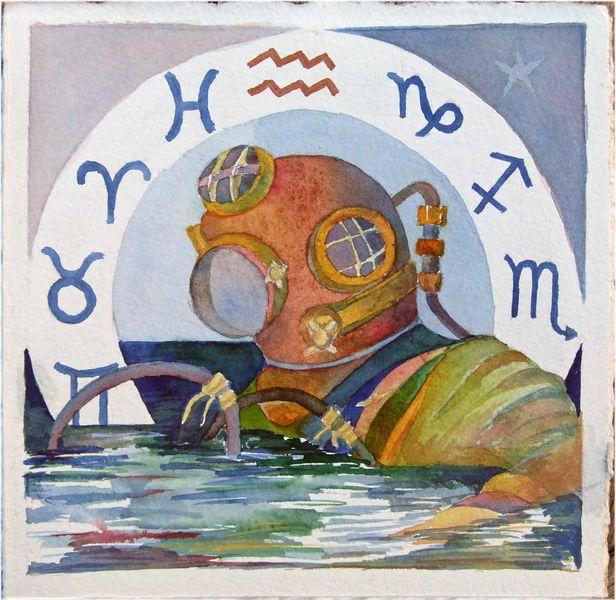 Wassermann, Tierkreiszeichen, Aquarellmalerei, Sternzeichen, Malerei, Menschen