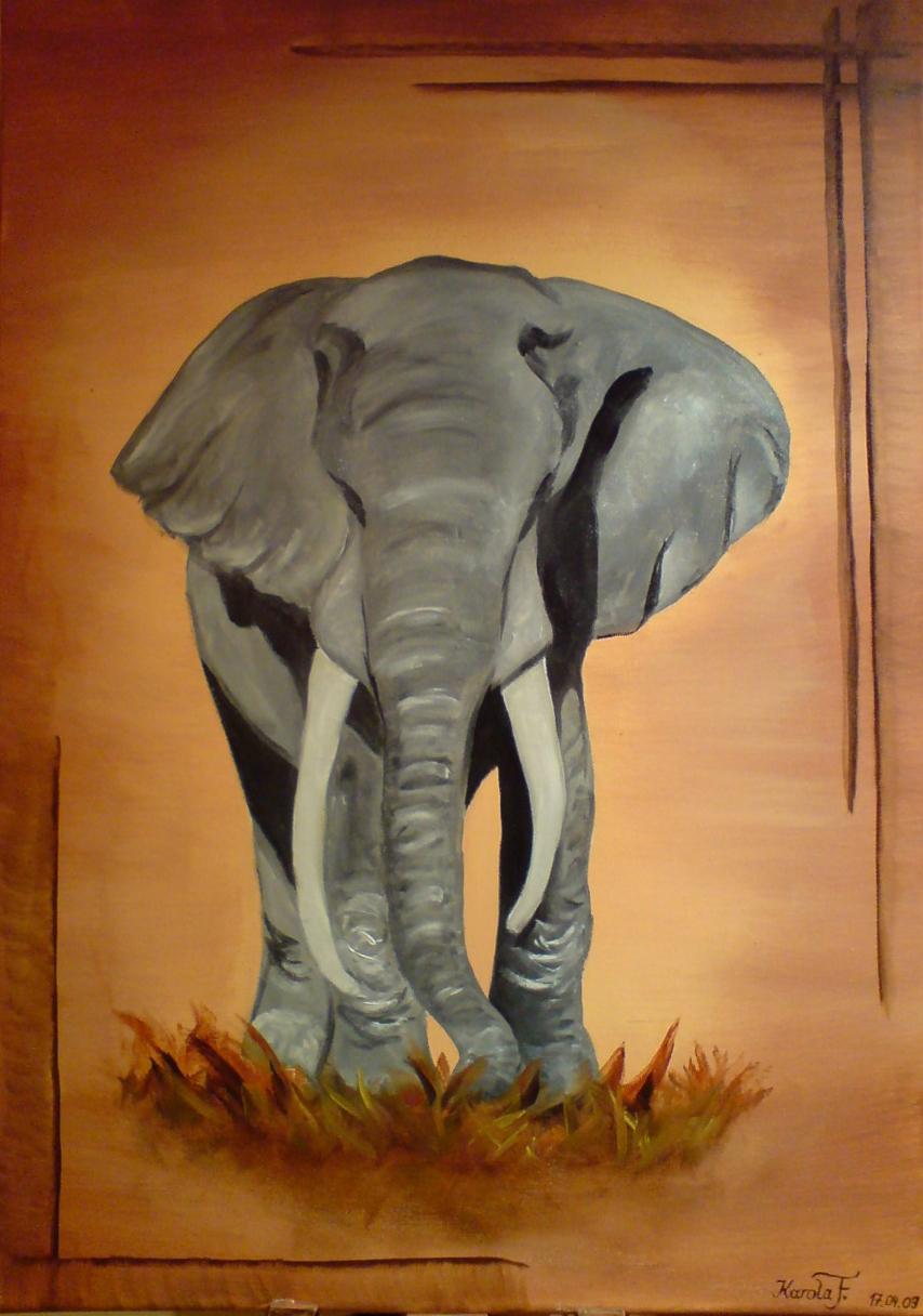 bild elefant afrika savanne grau von karola bei kunstnet. Black Bedroom Furniture Sets. Home Design Ideas