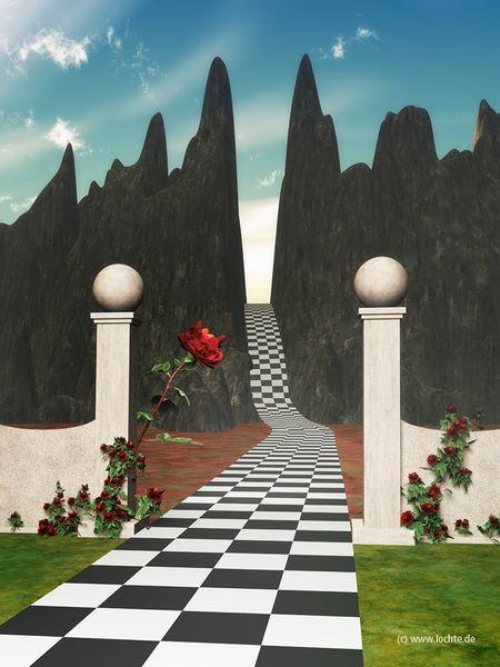 Fantasie, 3d, Weg, Rose, Lebensweg1, Berge
