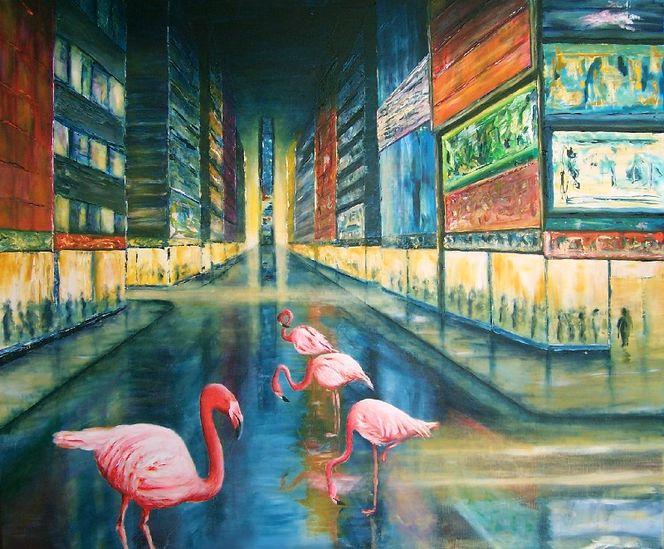 Irgendwo irgendwann, Regen, Surreal, Acrylmalerei, Flamingo, Malerei