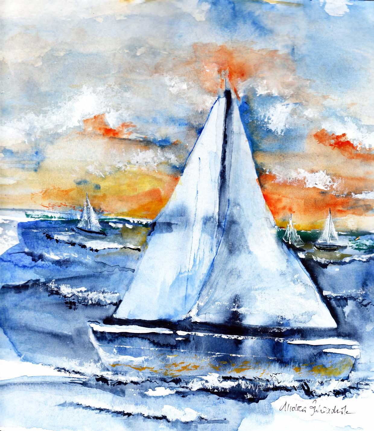 Segelschiffe auf dem meer  Bild: Segelschiff, Orange, Himmel, Meer von Andrea Zahradnik bei ...