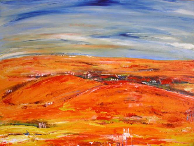 Blau, Orange, Landschaft, Acrylmalerei, Malerei,