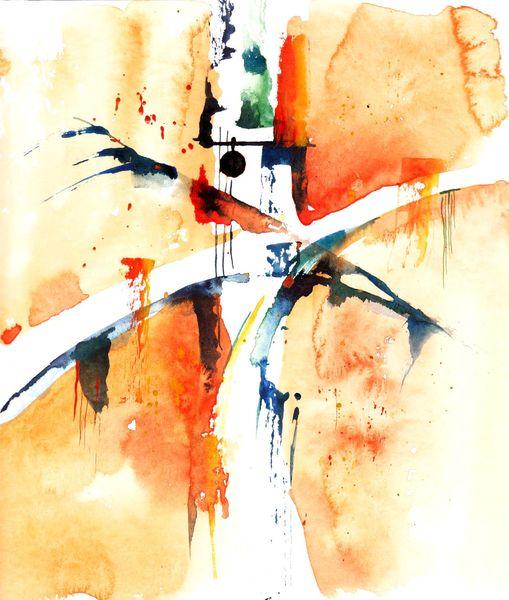 Kreuz, Orange, Menschen, Tanz, Oder abstrakt, Malerei
