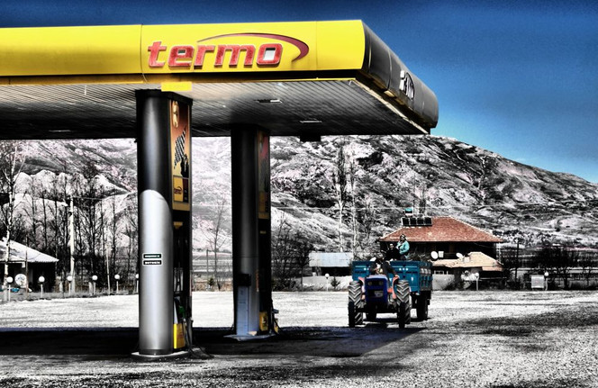 Tankstelle, Traktor, Leere, Fotografie