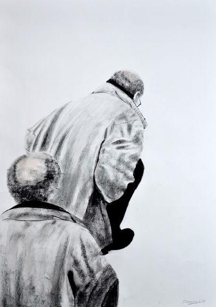 Pastellmalerei, Menschen, Sitzen, Mann, Stehen, Zeichnungen