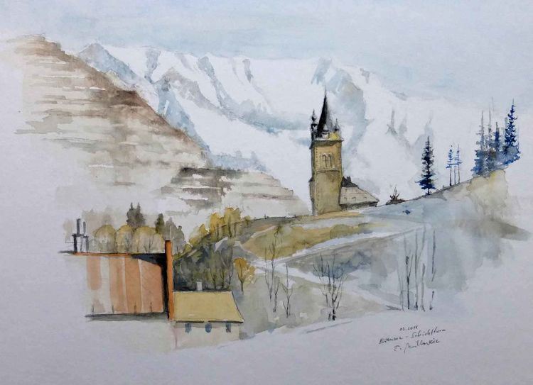Steiermark, Winter, Eisenerz, Aquarell