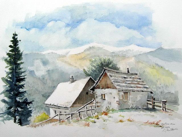 Landschaft, Almhütten, Schnee, Steiermark, Aquarell