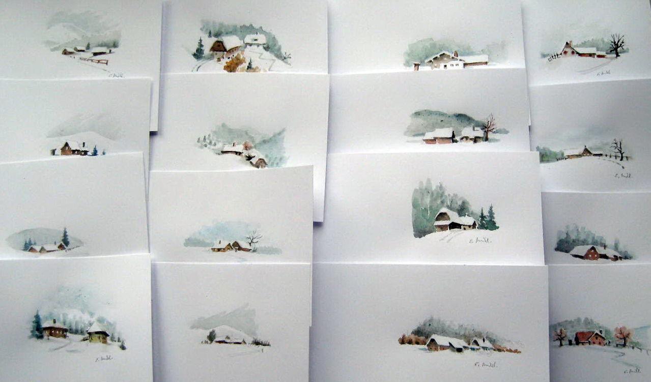 Bild aquarell advent von egon miklavcic bei kunstnet for Weihnachtskarten erstellen