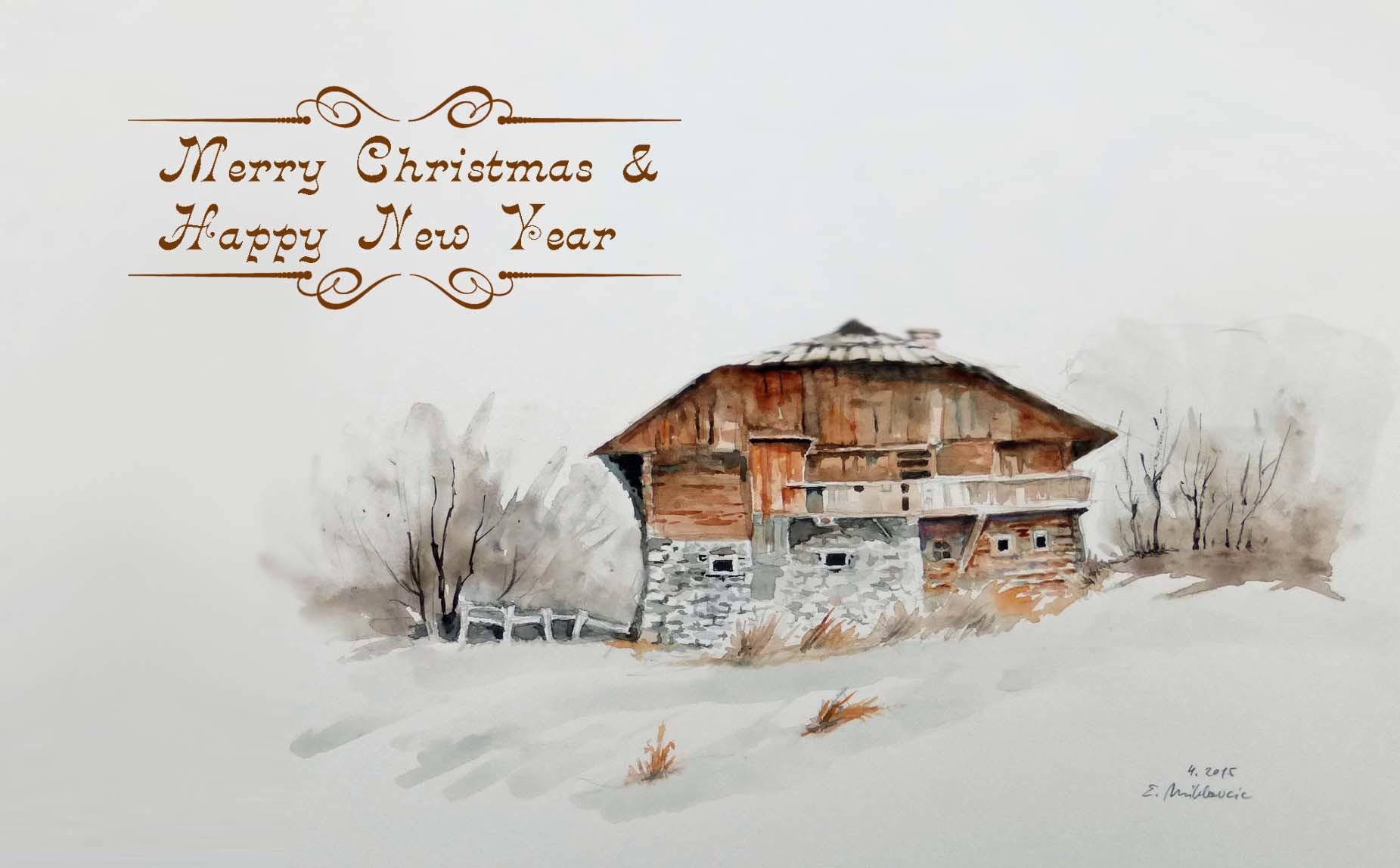 Bild weihnachten aquarell architektur von egon for Architektur aquarell