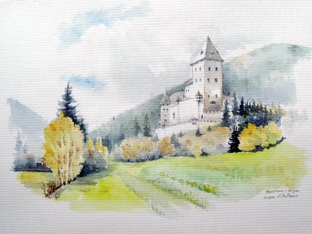 Aquarell, Pflanzen, Schloss