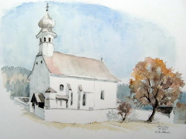 Kirche, Baum, Landschaft, Aquarell