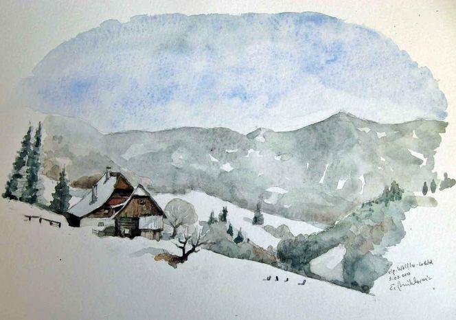 Aquarellmalerei, Lachtal, Bauernhof, Steiermark, Winter, Aquarell