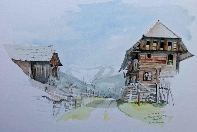 Bauernhof, Aquarellmalerei, Oberwoelz, Plein, Luft, Steiermark