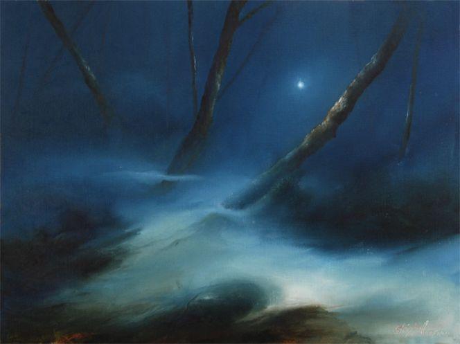 Baskerville, Baum, Blau, Nacht, Moor, Mond