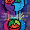 Vektorkunst, Bauch, Schwer, Farben