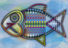 Vektorkunst, Farben, Flosse, Fisch