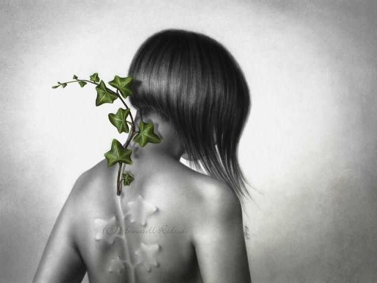 Selbstportrait, Erkennen, Wachstum, Hoffnung, Grün, Zeichnungen