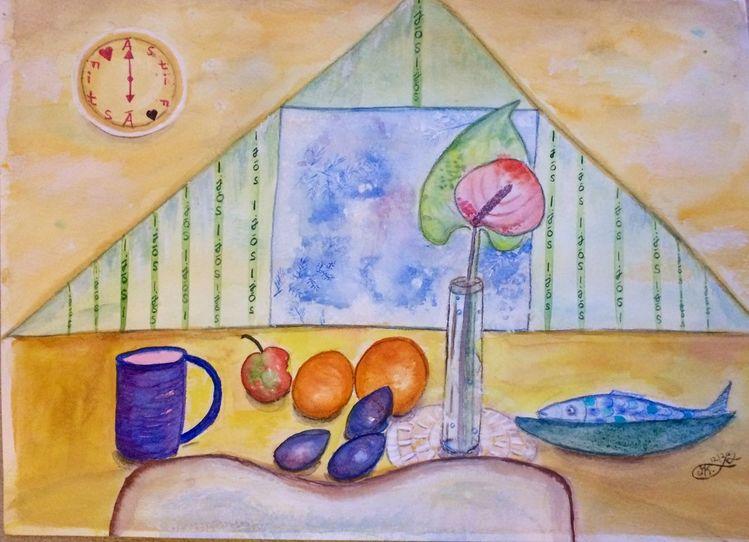 Früchte, Deckchen, Becher, Stuhl, Licht, Fisch