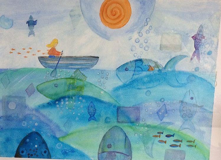 Wasser, Fische, Monika, Mischtechnik, Meer