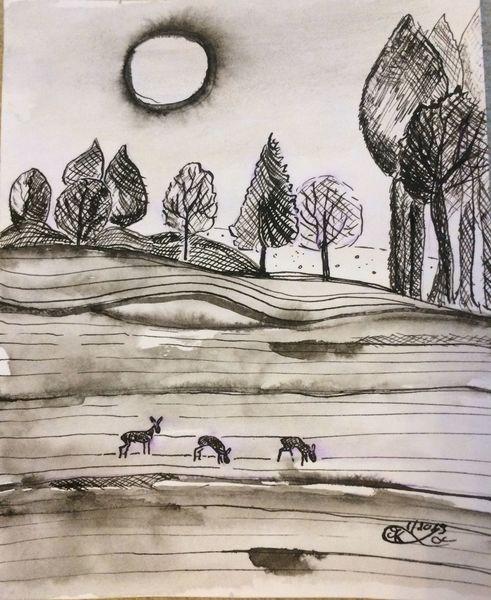 Sonne, Feld, Baum, Zeichnungen, Jagd,