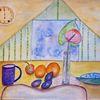 Deckchen, Früchte, Stuhl, Becher