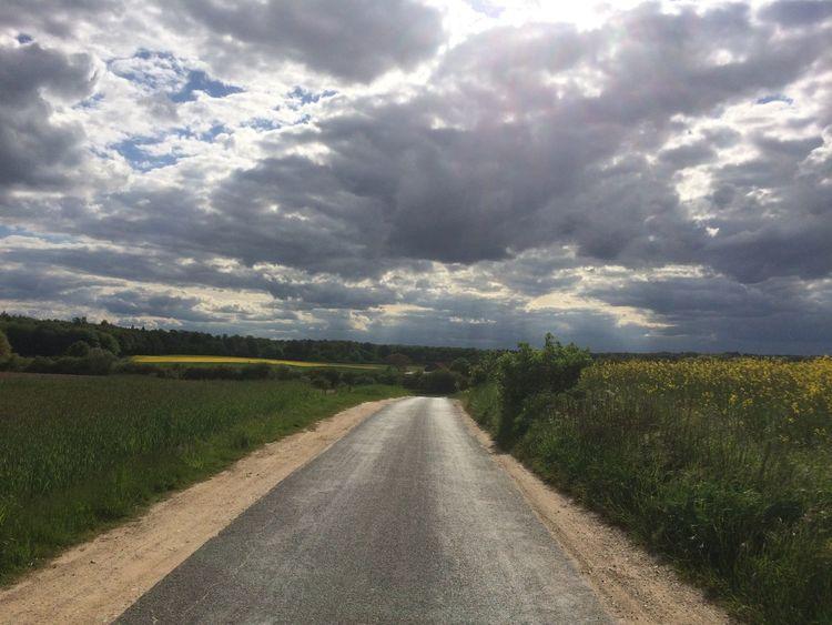 Straße, Wiese, Himmel, Fotografie, Frühjahr