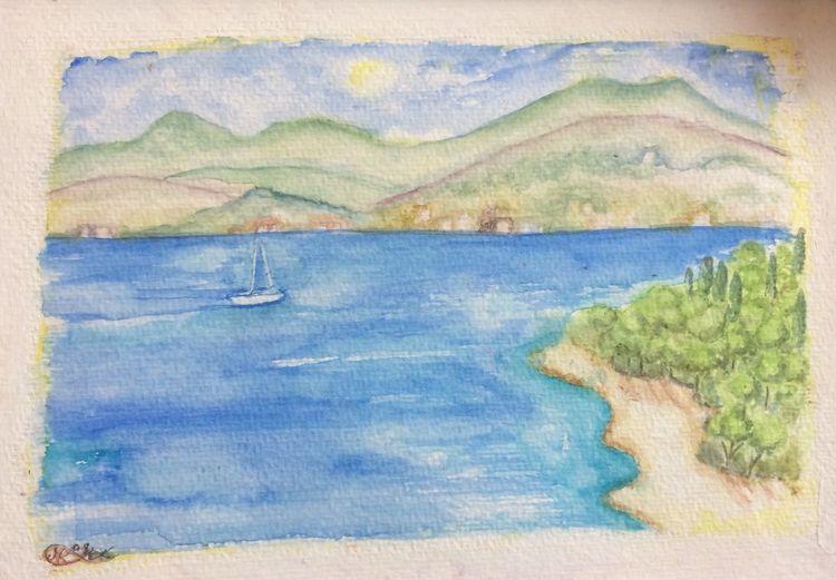 Haus, Berge, Segelboot, Hain, Strand, Meer