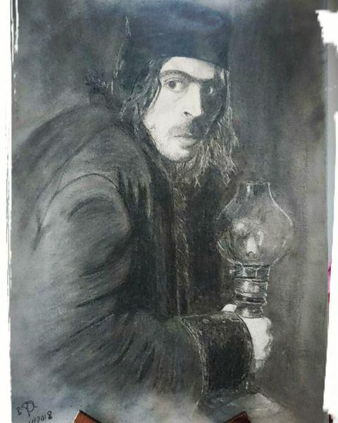 Portrait, Fantasie, Zeichnung, Hobbit, Kohlezeichnung, Tolkien