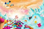 Berge, Süßigkeit, Einhorn, Digitale kunst