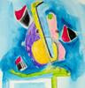 Malerei, Abstrakt, Saxofon