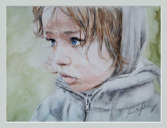 Traum, Aquarellmalerei, Mädchen, Kind, Gedanken, Portrait