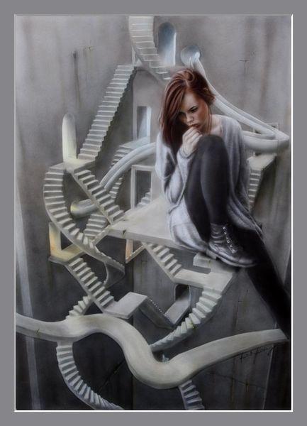 Acrylmalerei, Weg, Chaos, Angst, Aquarellmalerei, Pubertät