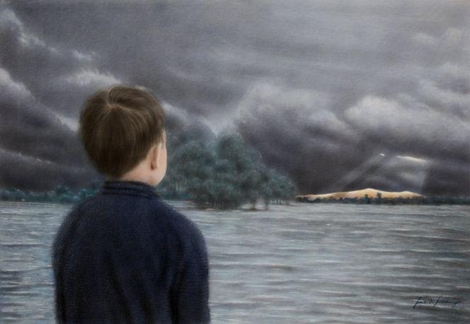 Flut, Kind, Aquarellmalerei, Weyerberg, Sturm, Licht