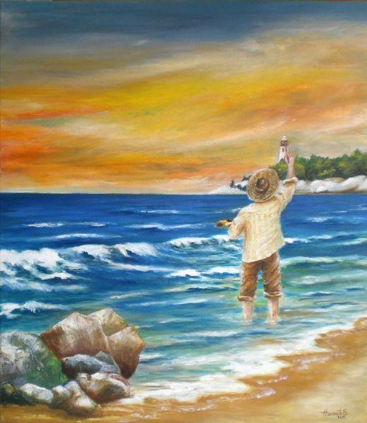 Wasser, Landschaft, Strand, Himmel, Malen, Leuchtturm
