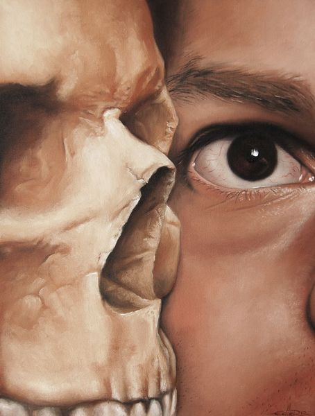 Trugbild, Schädel, Einbildung, Selbstportrait, Wahn, Tod