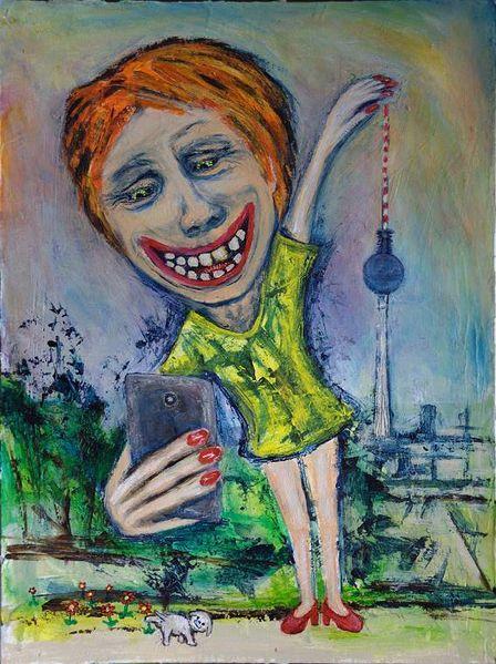 Frau, Albern, Turm, Smartphone, Selfie, Malerei