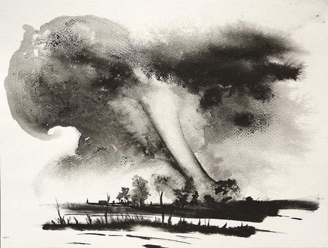 Tornado tusche landschaft, Malerei, Landschaft, Wetter