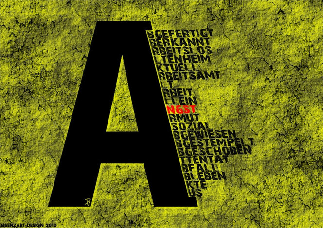Typographie, Alt, Arm, Collage, Grafik, Angst